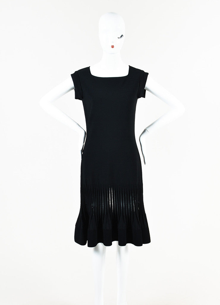 Valentino Black Stretch Knit Mesh Trim Pleated Cap Sleeve Flare Dress Frontview