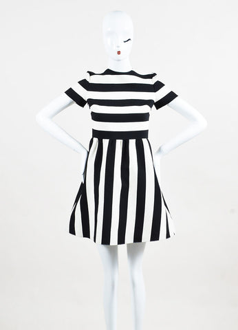 Valentino Black and White Wool Silk Striped Short Sleeve Dress frontview