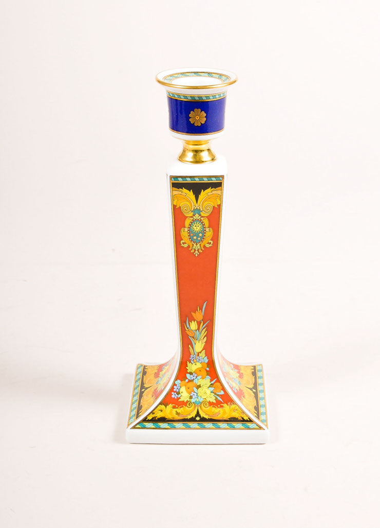 "Versace Rosenthal Multicolor ""Le Roi Soleil"" Candle Stick Frontview"