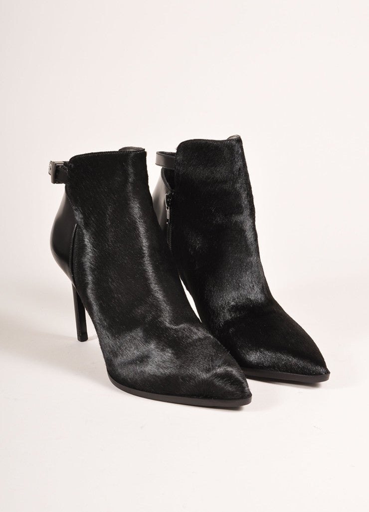 "Vince New In Box Black Leather Pony Hair Pointed Toe Heeled ""Calla"" Booties Frontview"