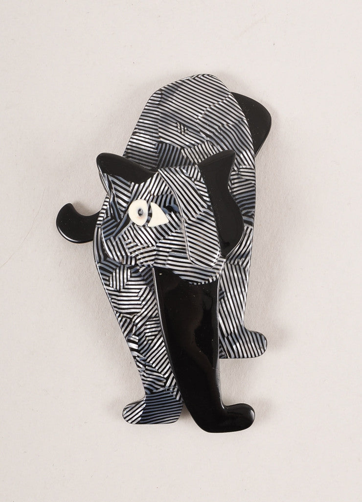 Lea Stein Black and Silver Toned Acetate Metallic Striped Standing Cat Brooch  Frontview
