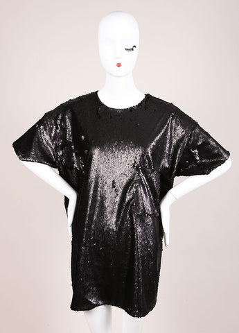 Wayne New With Tags Black Sequin Short Sleeve Oversized T Shirt Frontview