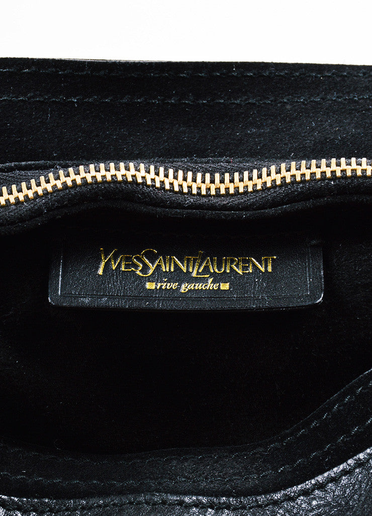 "Yves Saint Laurent Black Leather Suede Gold Toned ""Medium Muse Two"" Handbag Brand"
