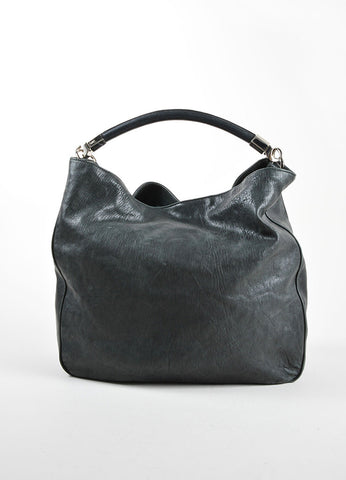 "Yves Saint Laurent Black and Silver Toned Leather ""Roady"" Hobo Bag Frontview"