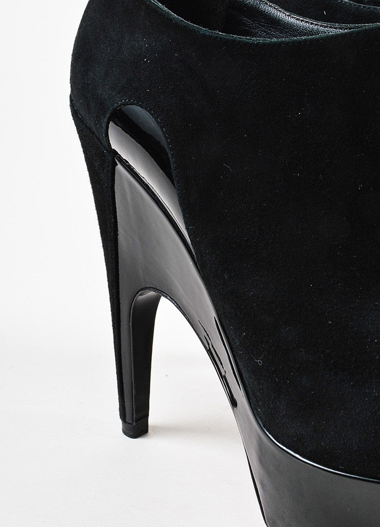"Yves Saint Laurent Black Suede and Patent Leather ""Imperiale 95"" Booties Detail"