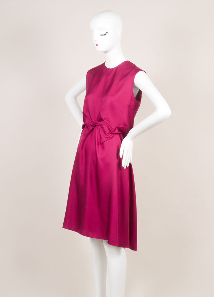Yves Saint Laurent Magenta Sleeveless Puckered Waist Silk Dress Sideview