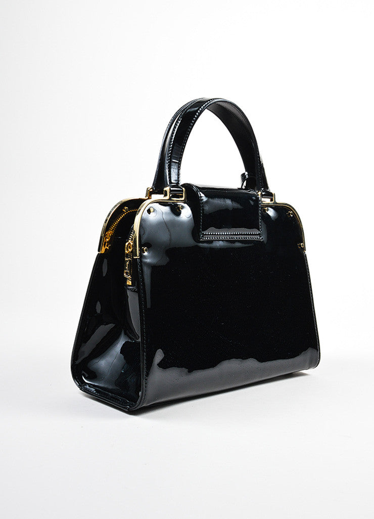 "Black and Gold Toned Yves Saint Laurent Rive Gauche Patent Leather ""Uptown"" Handbag Sideview"