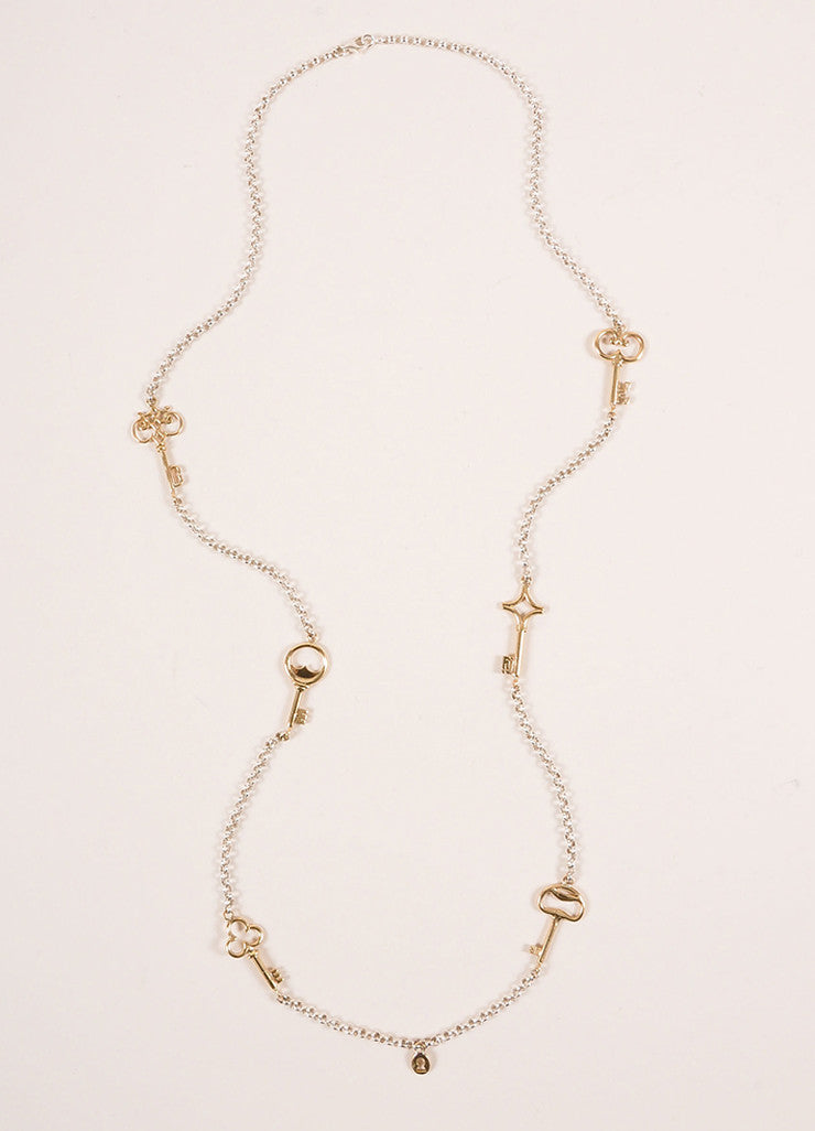 Bernard Delettrez Sterling Silver and Gold Toned Keys Necklace Frontview