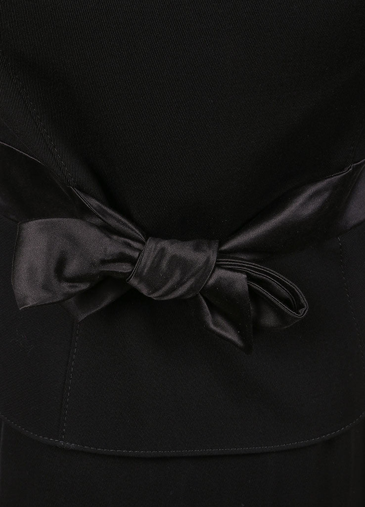 Valentino Black Wool and Silk Bow Embellished Skirt Suit
