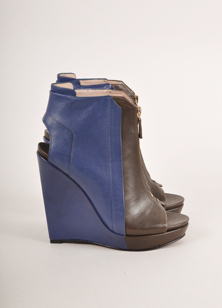 10 Crosby Derek Lam New In Box Brown and Blue Leather Zip Front Peep Toe Wedge Booties Sideview