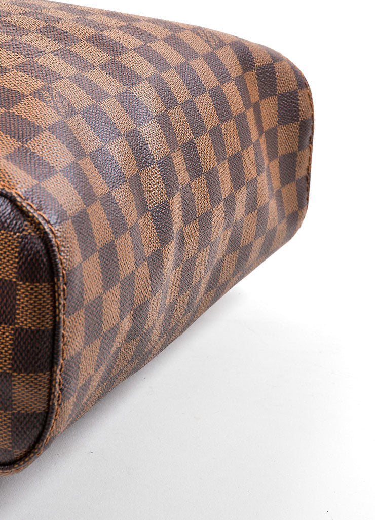 "Brown Louis Vuitton Damier Ebene Canvas ""Portobello GM"" Tote Bag Bottom View"
