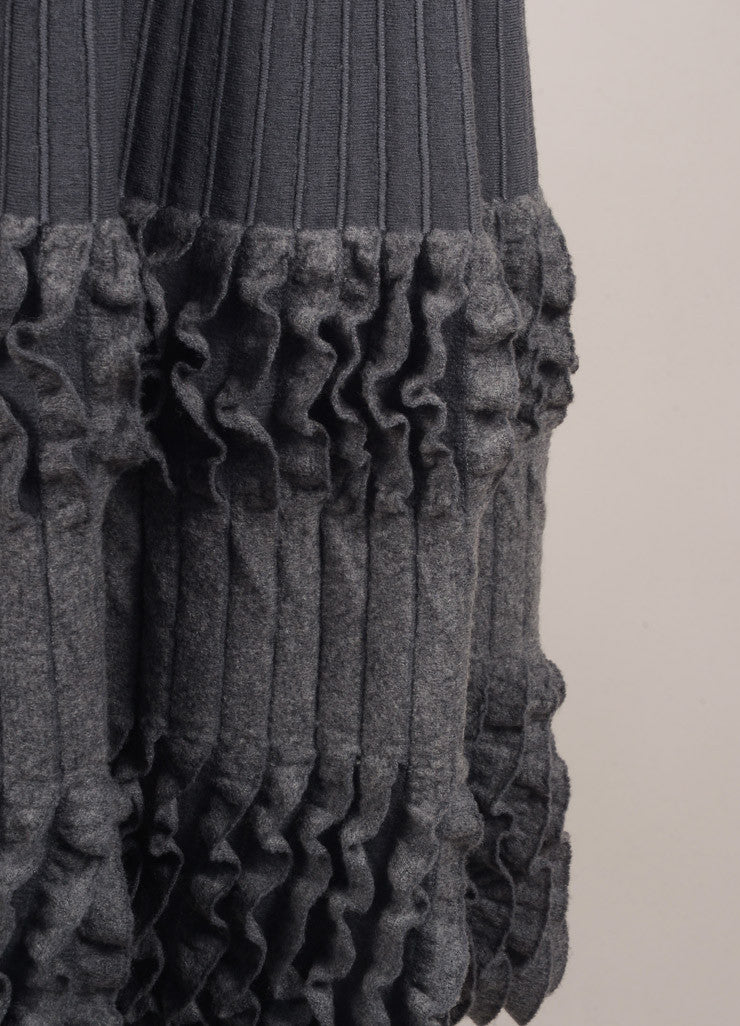 Alaia Grey Wool Ribbed Fitted Ruffle Trim Sleeveless Dress Detail