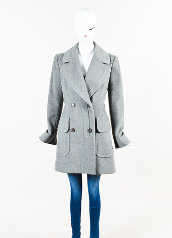 Alexander McQueen Grey Cashmere Double Breasted Pea Coat Jacket Frontview 2