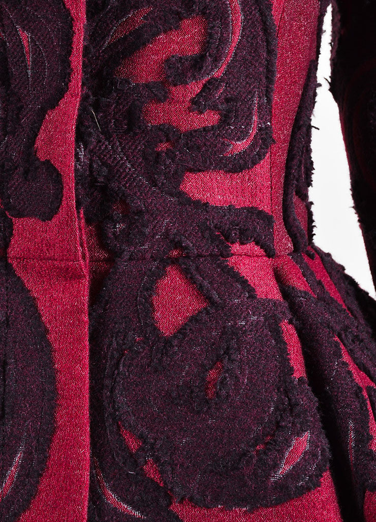 Maroon Wool Alexander McQueen Brocade Embroidered Peplum Jacket Detail