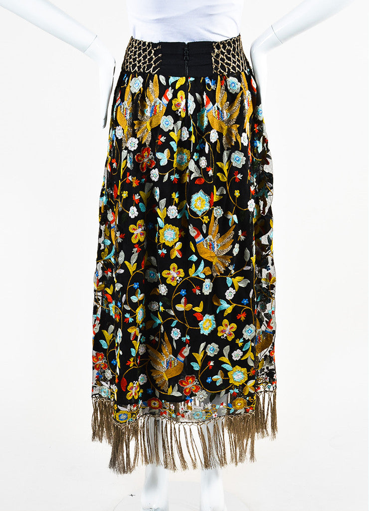 Alice + Olivia Black and Multicolor Mesh Floral Embroidered Tassel Skirt Backview