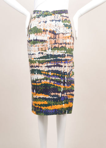 Altuzarra New With Tags Green, Blue, and Yellow Weave Print Pencil Skirt Frontview