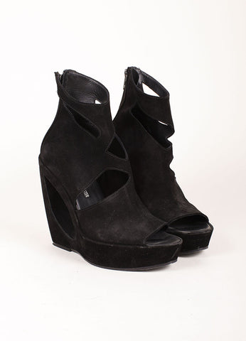 Ann Demeulemeester Black Suede Donut Hole Peep Toe Wedges Frontview