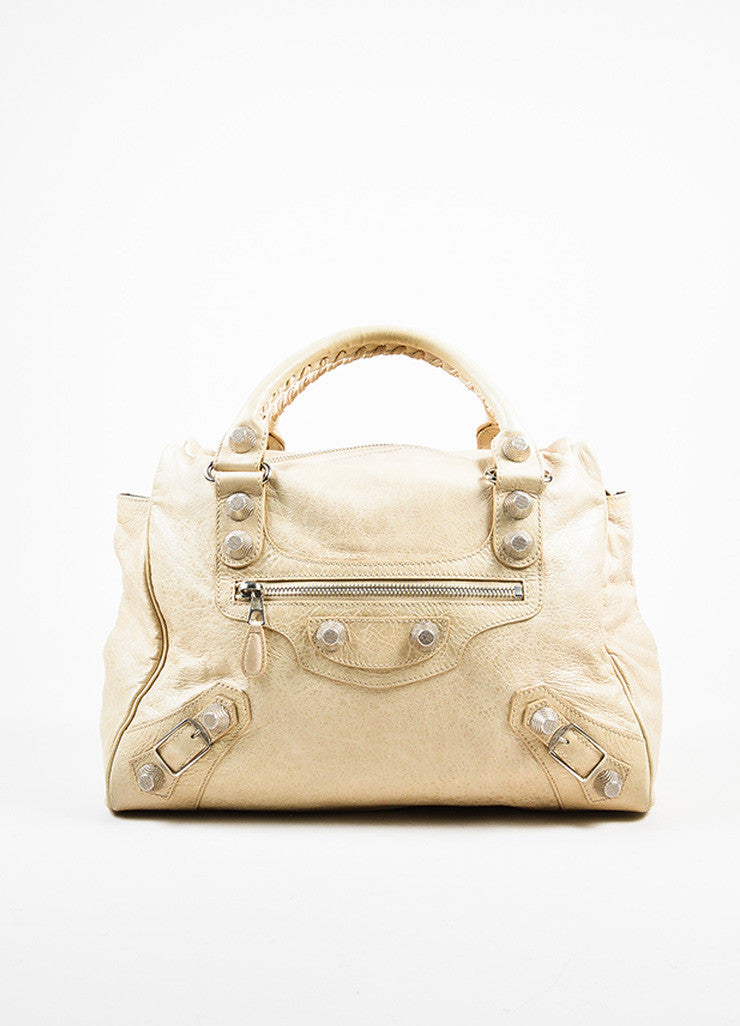"Balenciaga Beige Distressed Leather ""Giant Midday"" Silver Toned Stud Shoulder Bag Frontview"