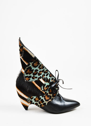 Balenciaga Black, Teal, and White Leopard Print Patchwork Angled Booties Sideview