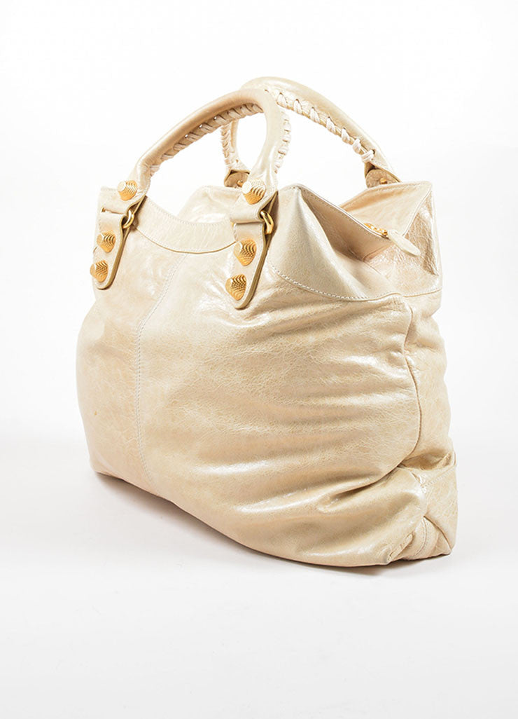 "Balenciaga Cream Leather Gold Toned Studded ""Giant Brief"" Tote Bag Sideview"