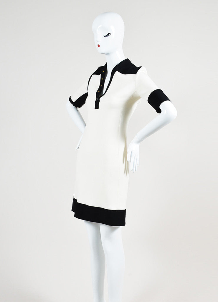 Black and Cream Balenciaga Colorblock Collarless Short Sleeve Sheath Dress Sideview