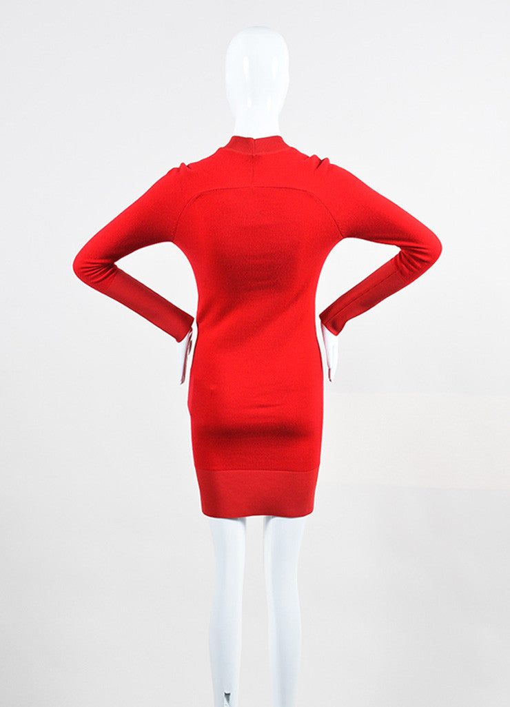 Balenciaga Lipstick Red Cashmere Long Sleeve Sweater Dress Backview