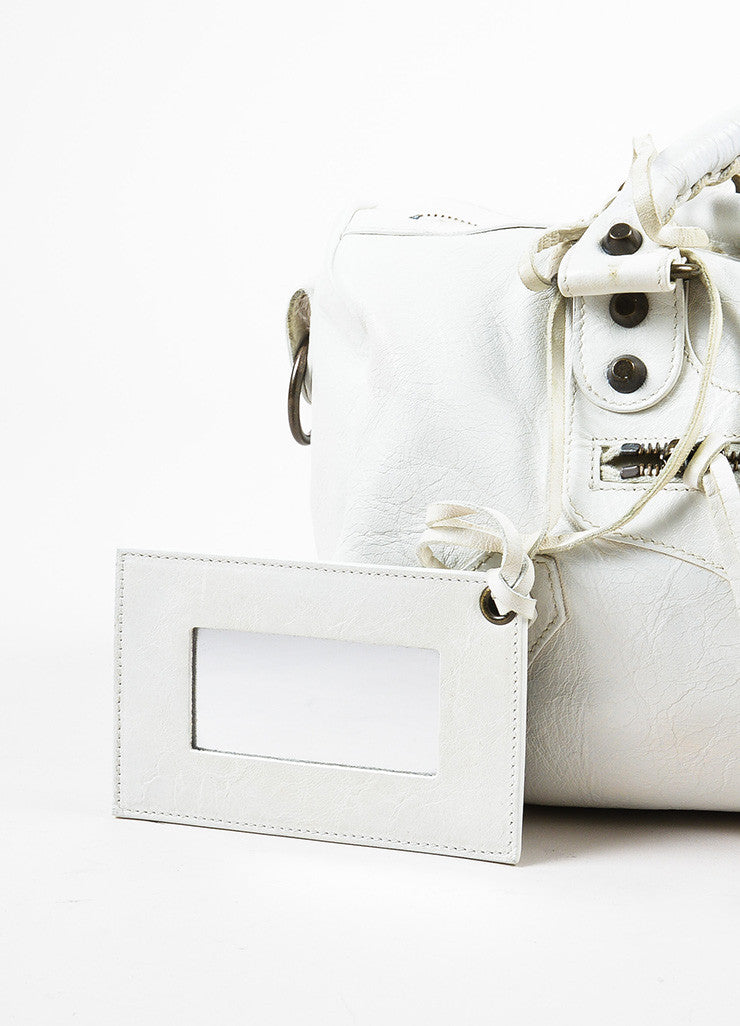 "Balenciaga White Leather Classic Stud ""Twiggy"" Satchel Bag Mirror"