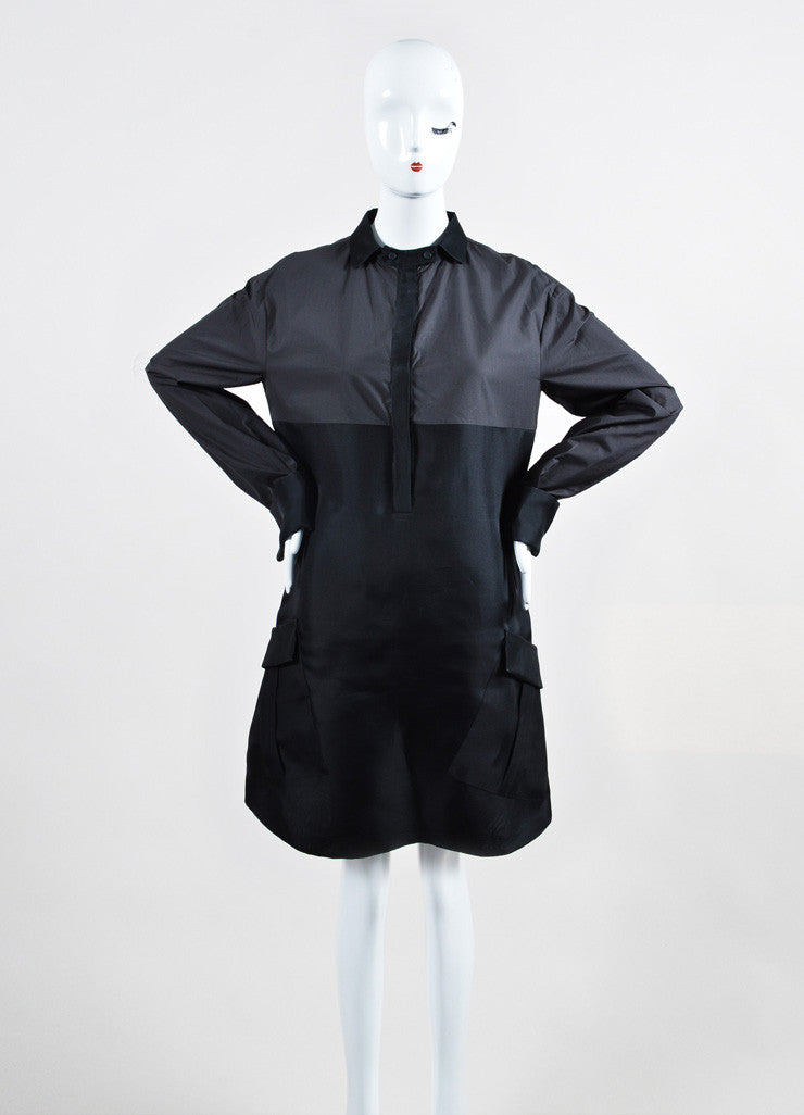 Graphite and Black Bottega Veneta Cotton and Silk Long Sleeve Shirt Dress Frontview