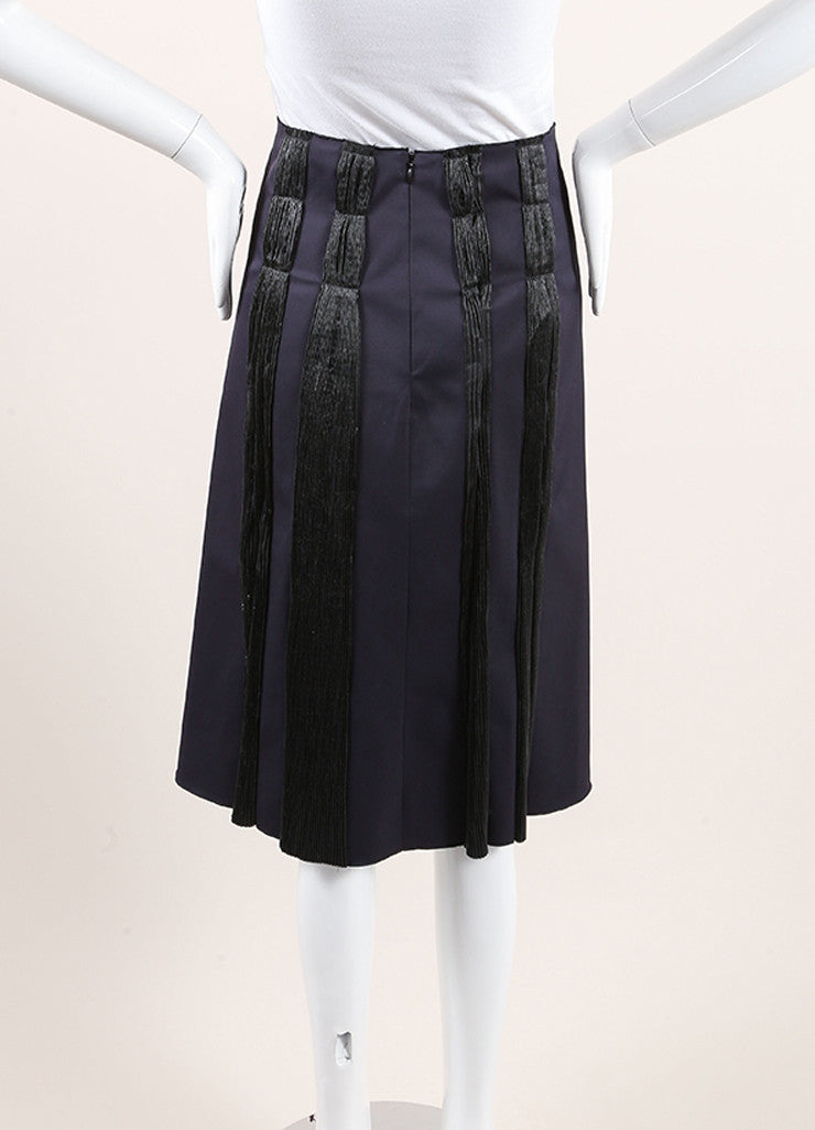 Bottega Veneta Navy and Black Woven Jacquard Plisse Striped A-Line Skirt Backview