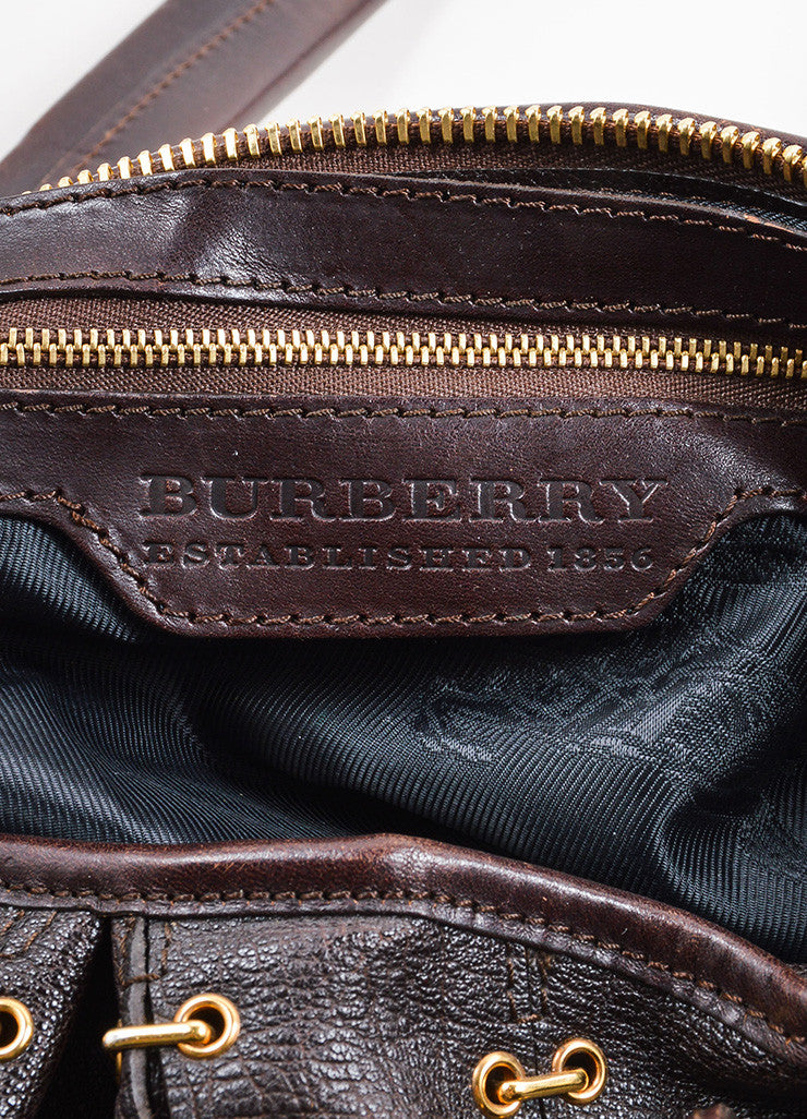 "Burberry Dark Brown Leather Metal Stitch Large ""Lowry"" Shoulder Bag Brand"
