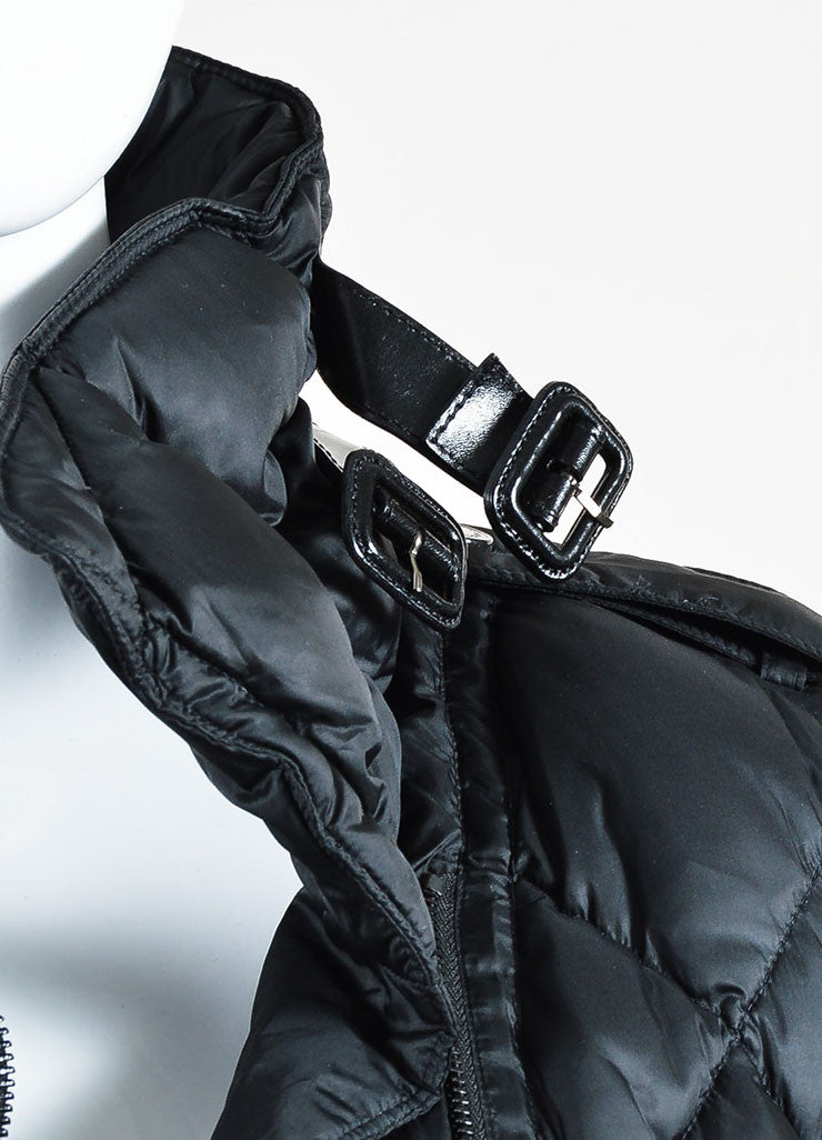 Burberry Black Leather Trim Long Sleeve Cropped Moto Puffer Coat Detail