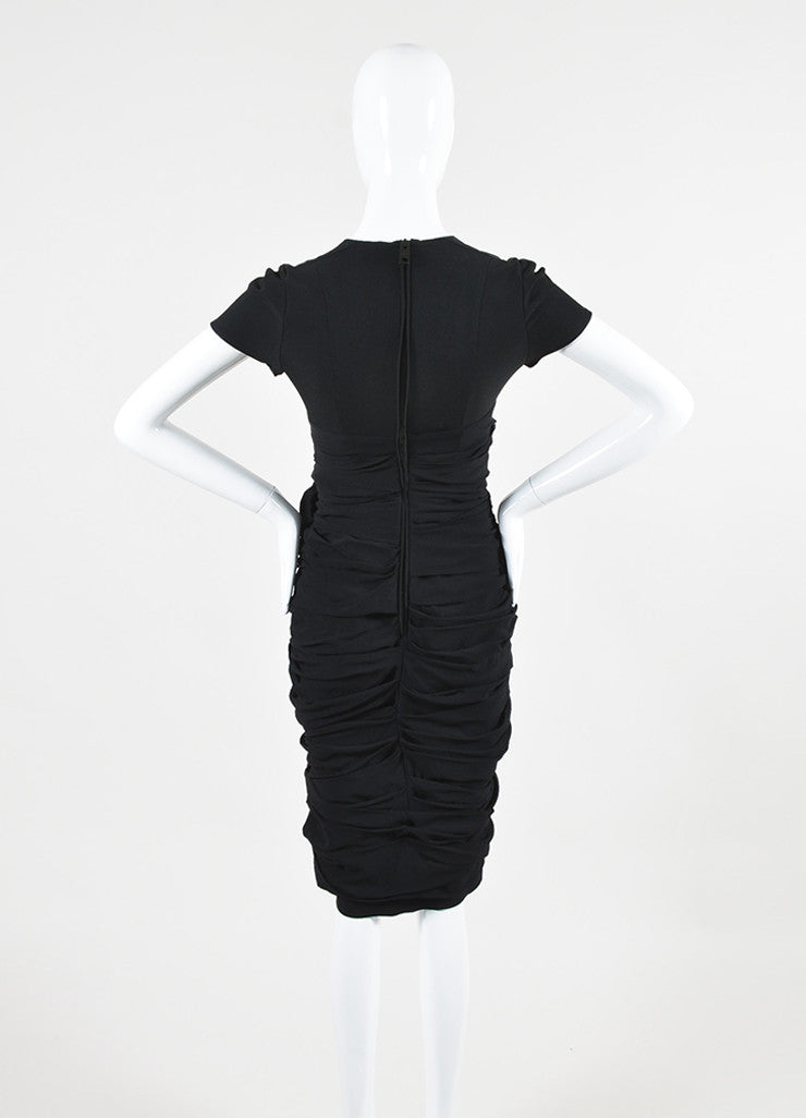 Black Burberry Prorsum Silk Ruffled Gathered Short Sleeve Dress Backview