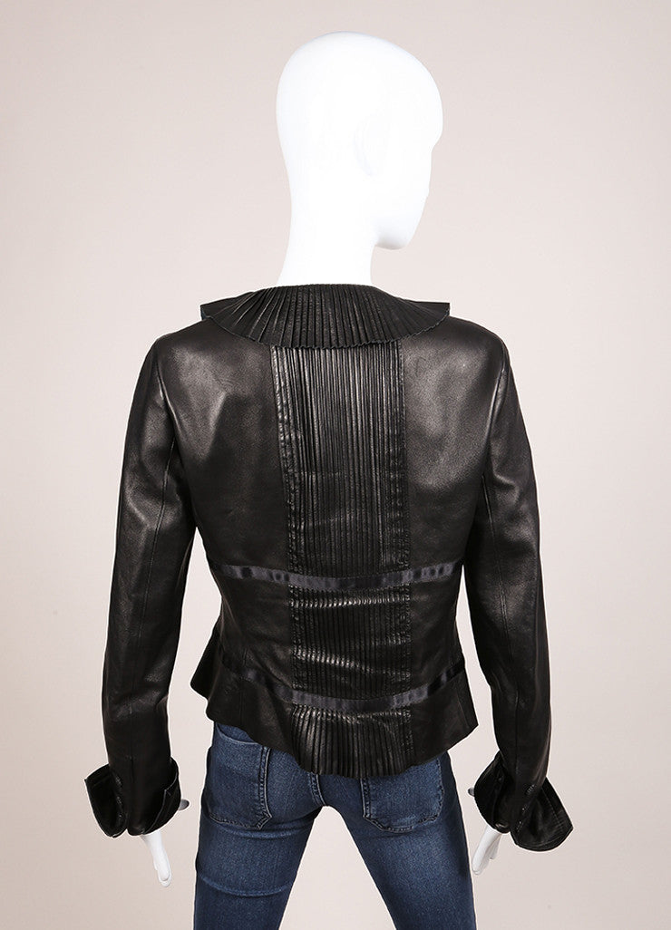 Chanel Black Leather Pintuck Ruffle Ribbon Trim Long Sleeve Jacket Backview