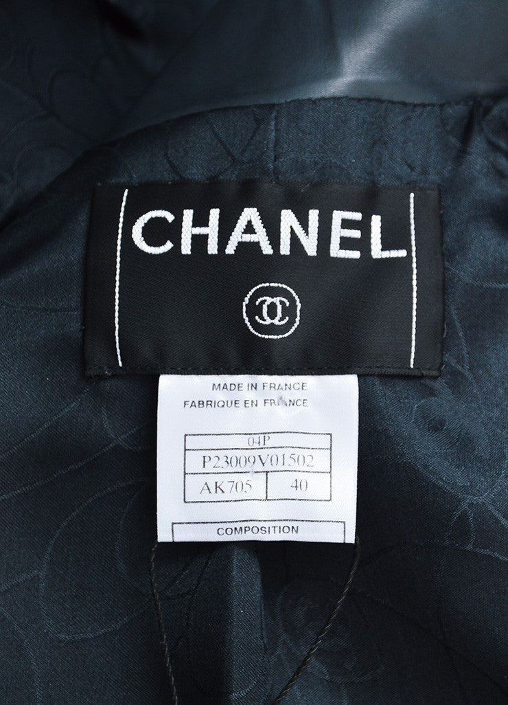 Blue-Grey Chanel Calf Leather Double Lapel Cropped Jacket Brand