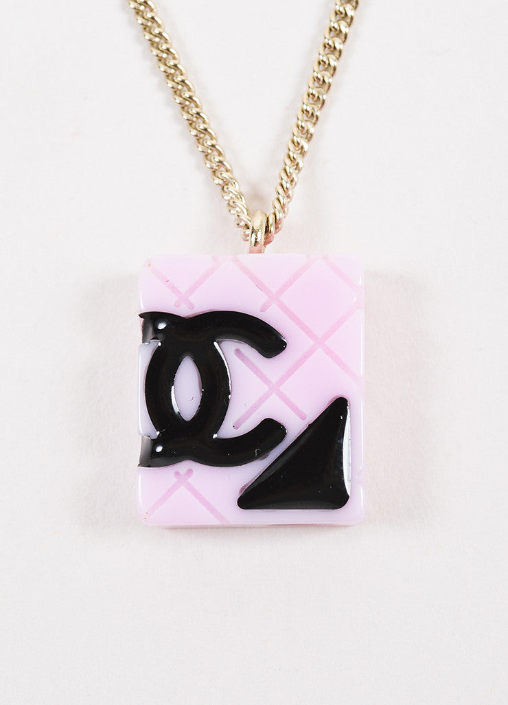 Chanel Black, Gold Toned, and Pink Acrylic and Enamel 'CC' Cambon Pendant Necklace Detail 2