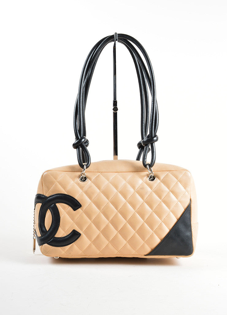 Chanel Beige and Black Quilted Leather Cambon Ligne Bowler Tote Bag Frontview