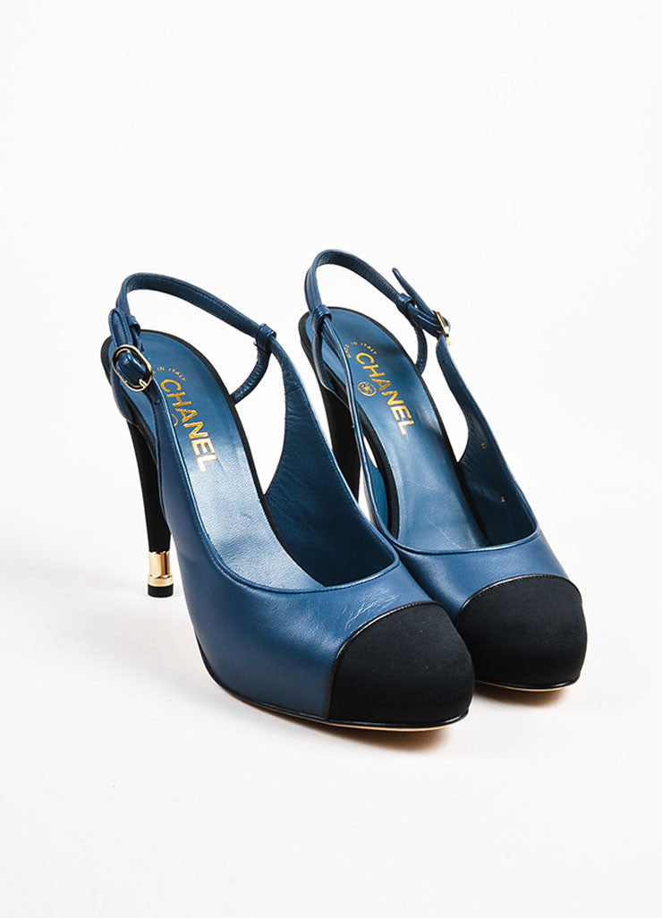 Navy Blue Chanel Leather Silk Cap Toe Slingback Pumps Front