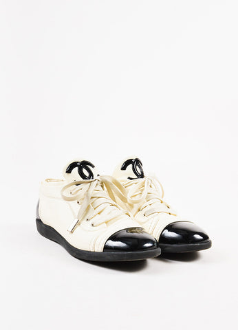 "Chanel ""Blanc"" White and Black Patent Leather Cap Toe 'CC' Sneakers Frontview"