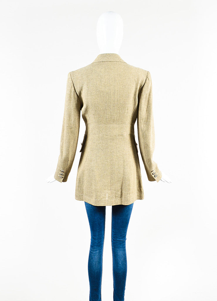 Chanel Beige Linen Cargo Pocket Long Tailored Jacket Backview