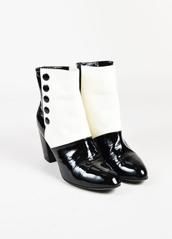 Chanel Black and Cream Leather Snap Closure 'CC' Ankle Boots frontview