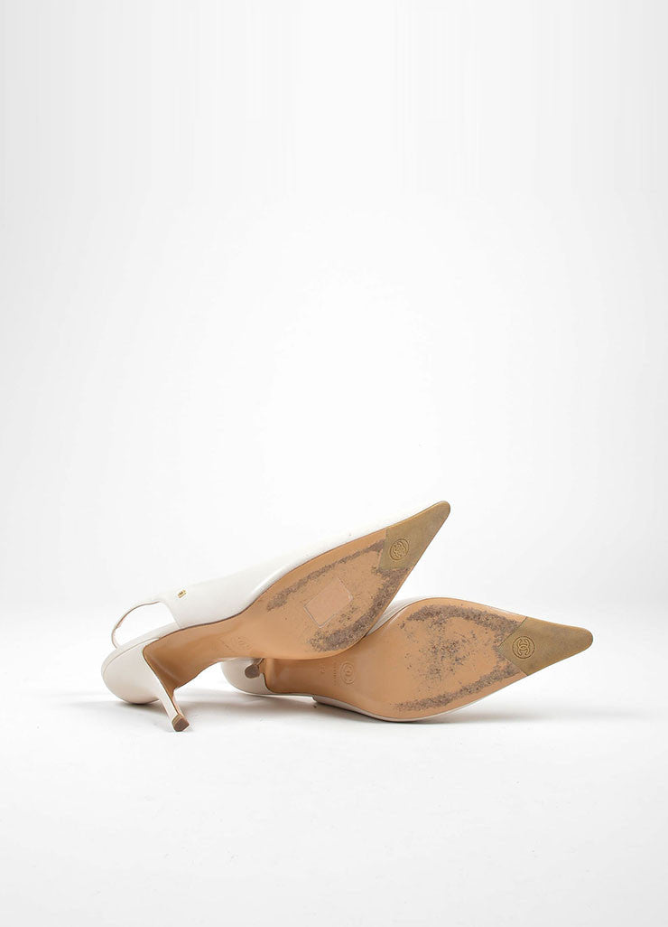 Cream Chanel Leather Pointed Toe 'CC' Slingback Pumps Outsoles