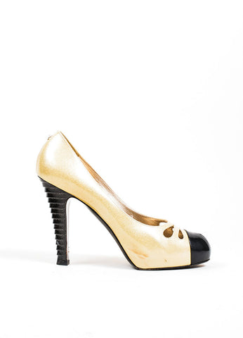 Gold and Black Chanel Patent Leather Glitter Pumps Side