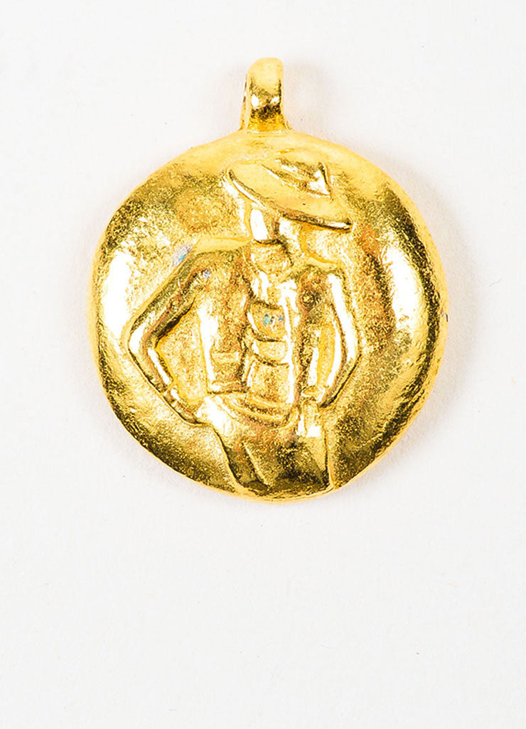 Gold Toned Chanel Mademoiselle Disc Pendant Frontview