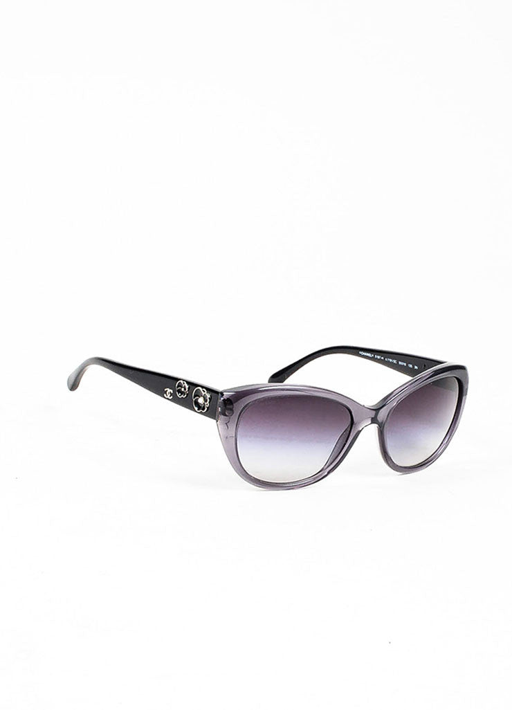 "Grey Chanel Floral Embellished Oval Ombre Lens ""Camellia"" Sunglasses Sideview"