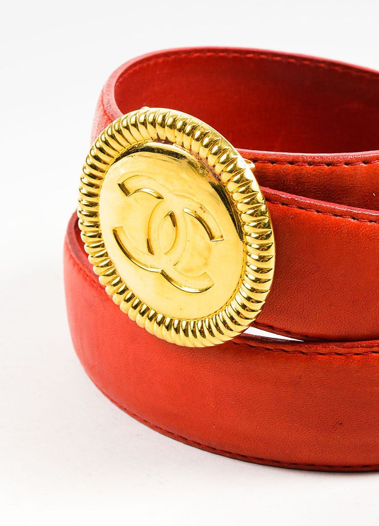 Chanel Red Leather Gold Toned 'CC' Circle Medallion Buckle Belt Detail