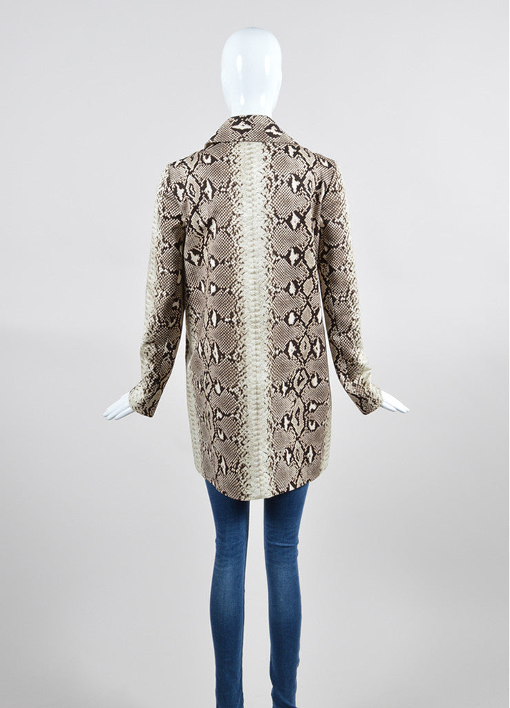 Brown and Beige Chloe Snakeskin Print Cotton Coat Backview