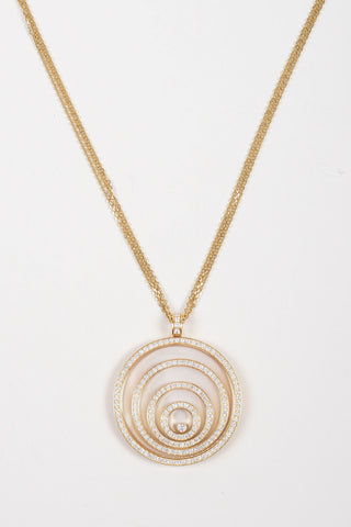 "18K Gold and 3.17ct Diamond Chopard ""Happy Spirit"" Circle Pendant Necklace"