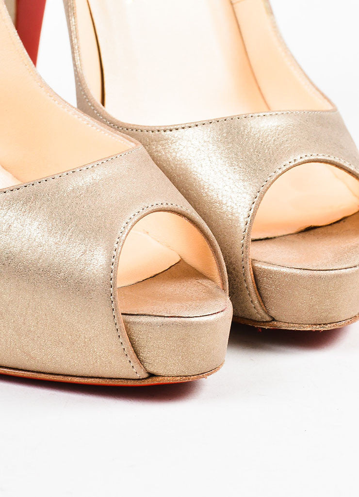 "Christian Louboutin Pale Gold Leather Peep Toe ""Very Prive"" Pumps Detail"