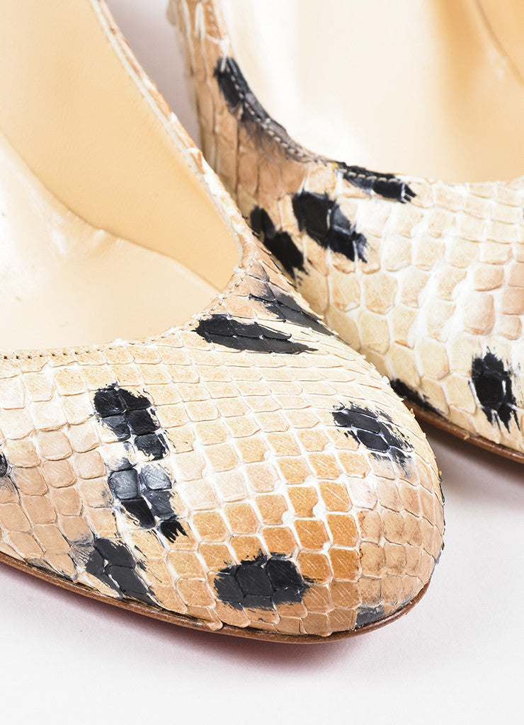 "Christian Louboutin Beige and Black Spotted Python Round Toe ""Simple"" Pumps Detail"