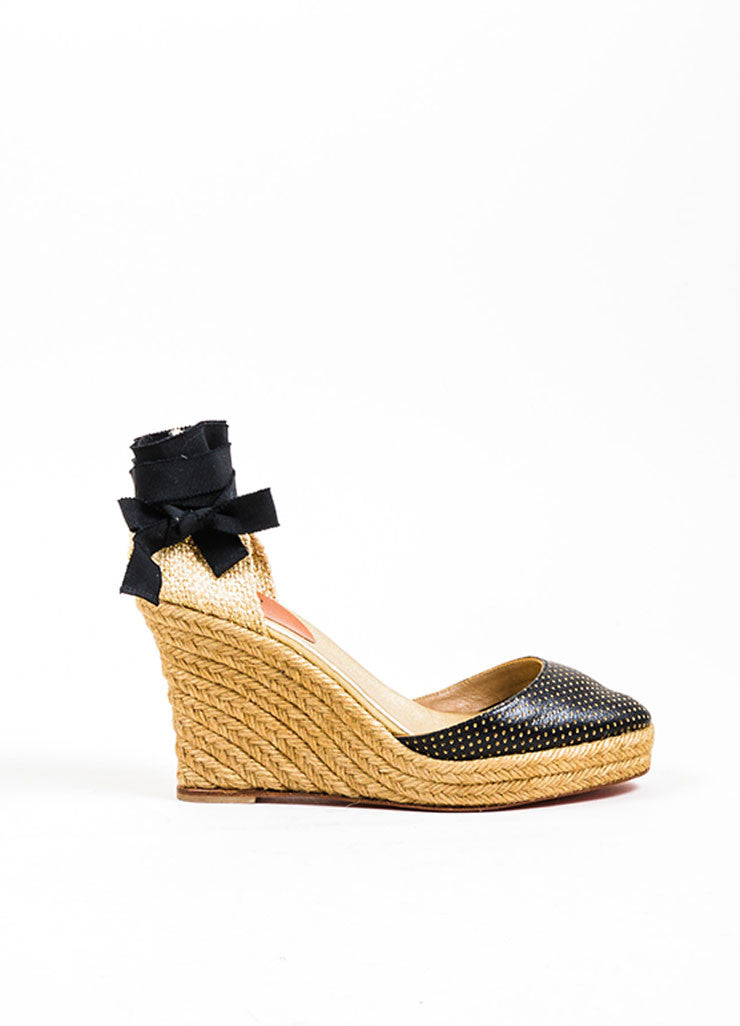 Black and Gold Christian Louboutin Perforated Leather Espadrille Wedges Sideview